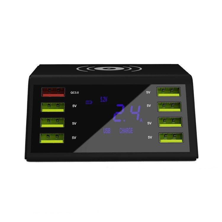 Беспроводная зарядная станция + 8 портов USB с ЖК-дисплеем